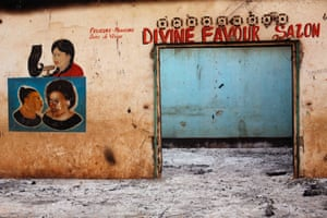 A Muslim owned hair salon stands looted in the Miskin district of Bangui, Central African Republic.
