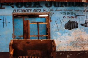 A Muslim auto shop stands looted in the Miskin district of Bangui, Central African Republic.