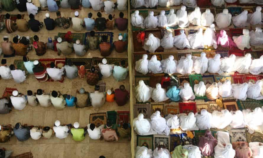 Indonesian Muslims perform Eid al-Fitr prayers.