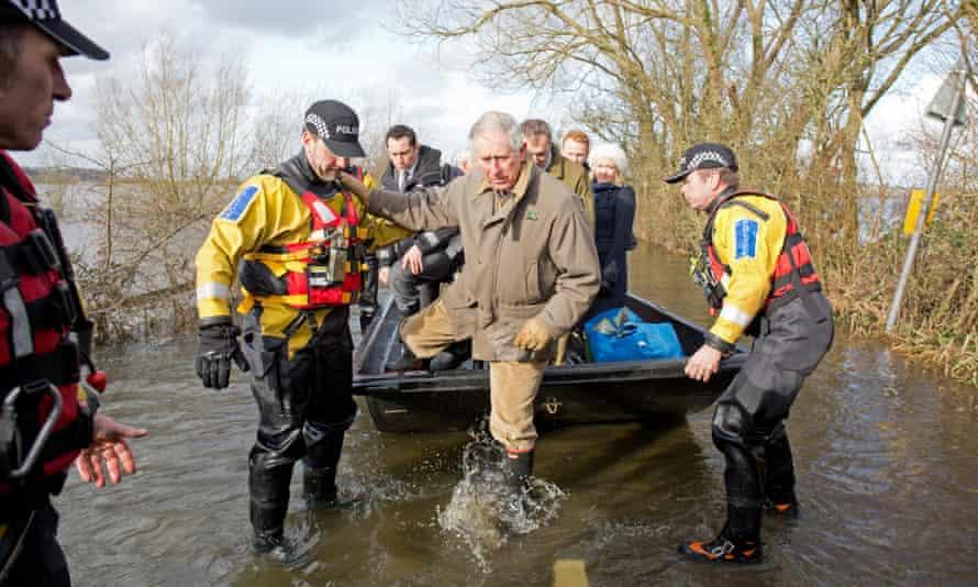 Prince Charles visiting the flood-hit village of Muchelney in Somerset