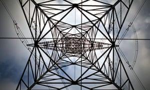A high-voltage power line tower Berlin