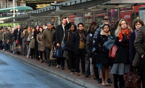 Perplexed commuters wait patiently for buses at Victoria.
