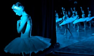 A dancer from the Kremlin Ballet troupe waits backstage for her turn in Swan Lake