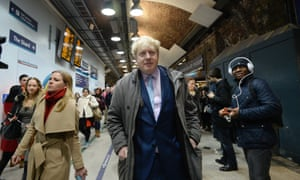 Boris Johnson made a visit to the underground this morning, seen here leaving London Bridge station.