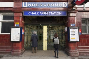 Passengers arriving at Chalk Farm station Northern Line to find it closed.