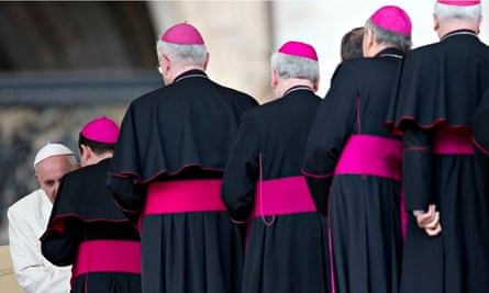 Pope Francis meets bishops at the end of  his weekly general audience