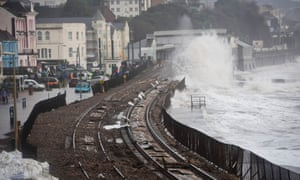 A view of some of the damage on the sea wall railway in Dawlish, causing damage, where high tides and strong winds have created havoc in the Devonshire town disrupting road and rail networks and damaging property.