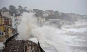 A huge waves break over the railway in Dawlish.