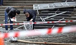 Russian police investigators collect evidence in Volgograd