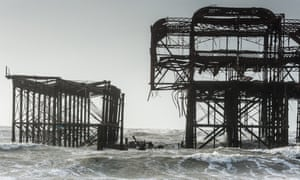 Brighton's old West Pier is in danger of total collapse as storms batter the South coast.