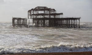 Large parts of Brighton's West Pier now teeter on the brink of total collapse after a powerful storm destroyed the lower section.