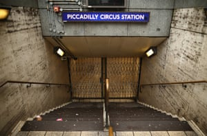 A closed entrance to Piccadilly Circus.