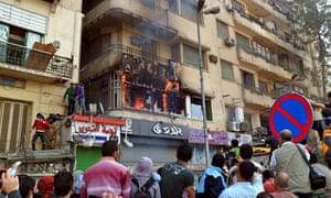 Al-Jazeera TV studio in Cairo set on fire