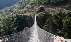 Crossing the Suspension Bridge at Ghasa Napel