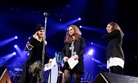 Madonna introduces Maria Alyokhina and Nadezhda Tolokonnikova of Pussy Riot at an Amnesty concert