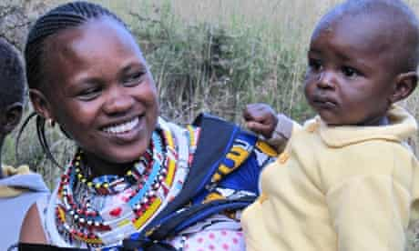 Sarah Tenoi with one of her children
