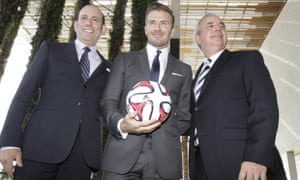 Former  England and Manchester United star, David Beckham with MLS commissioner, Don Garber and Miami-Dade County Mayor, Carlos Gimenez