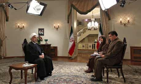 Iranian president Hassan Rouhani is interviewed live on state television