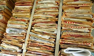 Patients' records at a GP surgery