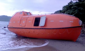 A lifeboat that washed ashore in West Java