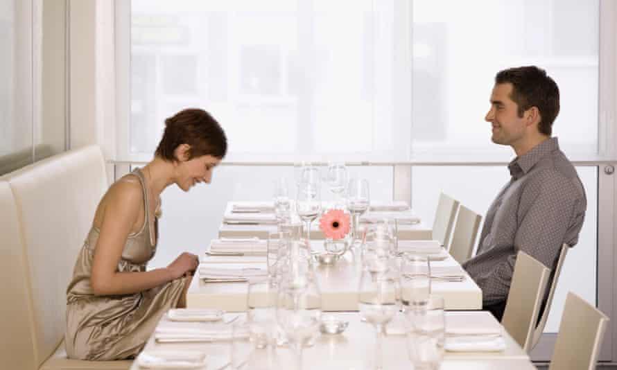 dinner date couple laugh