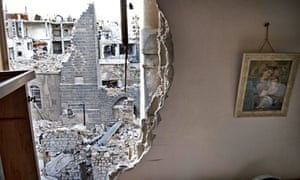A partially destroyed wall of a house in Homs, Syria