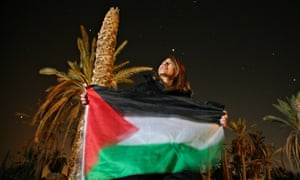 A protester with the Palestinian flag in Ein Hijleh