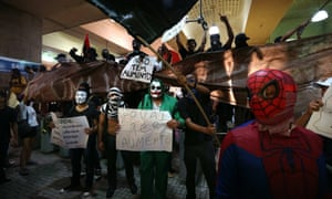 A group protest against the price rise of bus tickets at Central Station of Brazil in Rio de Janeiro.