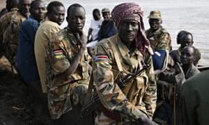 Rebel fighters in South Sudan