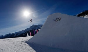 Britain's James Woods soars through the air on his slopestyle training run in Sochi this morning.