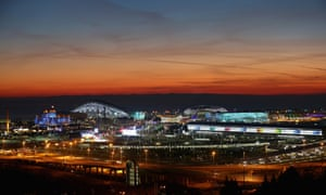 A general view of sunset at the Olympic Park at the Sochi 2014 Winter Olympics.