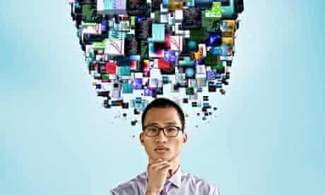 Businessman underneath cloud of technology