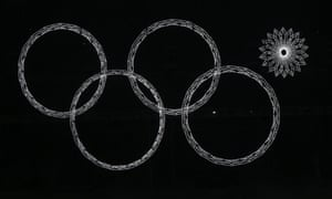 The Olympic rings are presented during the Opening Ceremony of the Sochi Winter Olympics at the Fisht Olympic Stadium.
