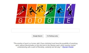 Google transform the logo on their front page, accompanied by a quote from the Olympic Charter, to show solidarity with the LGBT community during Sochi 2014.