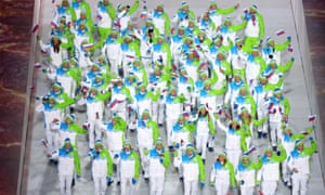 The Slovenia Olympic team during the Opening Ceremony of the Sochi 2014 Winter Olympics.