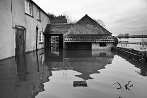 Somerset floods: An evacuated house in Moorland