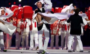 Dancers perform during the Opening Ceremony of the Sochi 2014 Winter Olympics.