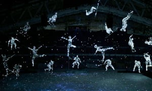 A scene from the opening ceremony of the Sochi Winter Olympics