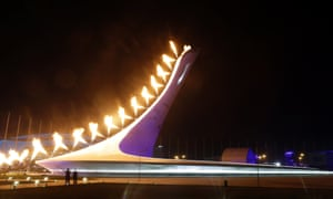 The Olympic Cauldron is lit during the opening ceremony of the 2014 Winter Olympics in Sochi.