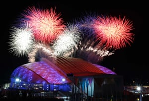 Fireworks are seen over the Olympic Park during the opening ceremony of the 2014 Sochi Winter Olympics.