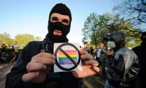 An anti-gay rights protestor