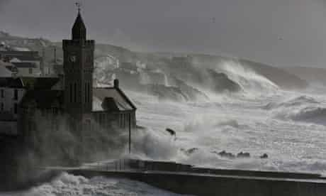 Waves break at Porthleven in Cornwall