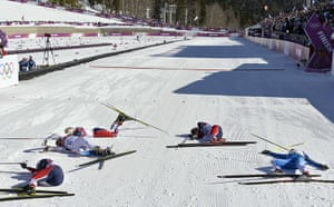 Sochi Day one roundup: (LtoR) Norway's Marit Bjoergen, Sweden's