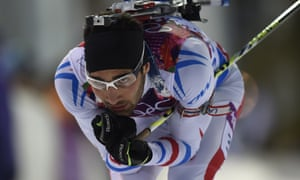 France's Martin Fourcade competes in the men's biathlon 10 km sprint.
