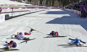 The women's cross-country skiathlon finish line.