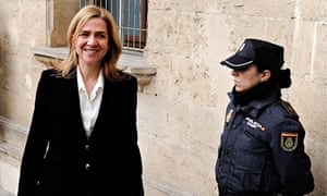 Princess Cristina of Spain arrives at the Palma de Mallorca courthouse to give evidence.