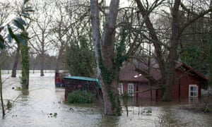 Flooding from the river Thames at Datchet in Berkshire.