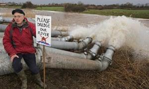 Flood defence protester in Somerset