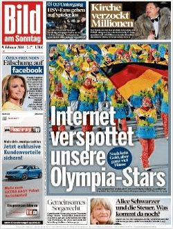The front page of Bild on Sunday 9 February