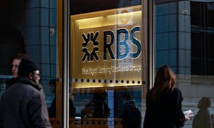 People walk past a Royal Bank of Scotland (RBS) building in the City of London